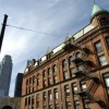 The Flatiron Gooderham building on Front Street East and Wellington Street East in Toronto, Ontario, Canada.