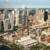 An aerial view from the south shows the Related Cos. Hudson Rail Yards development proposal on the West Side of New York in this artist's rendering.